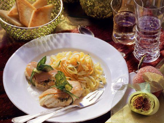 Seeteufel in Lachshülle mit Pasta