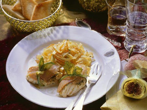 Seeteufel mit Pesto im Lachsmantel