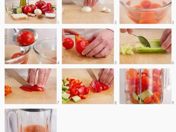 Selbst gemachte Gazpacho