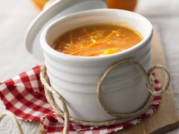 Senf mit Nektarinen und Orangenschale