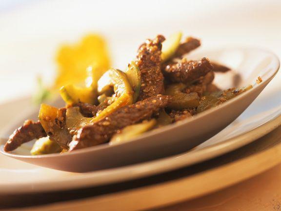 Sesam-Rindfleisch aus dem Wok