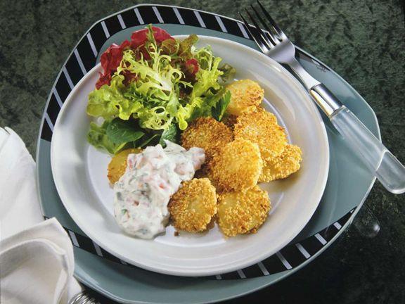 Sesamkartoffeln vom Blech mit Kräutercreme