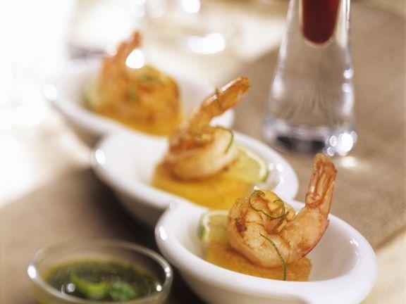 Shrimps auf Polentaplätzchen