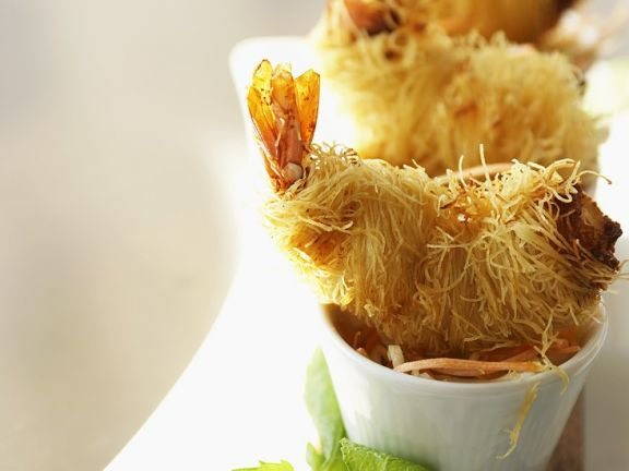 Shrimps im Nudelmantel frittiert