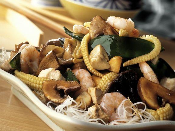 Shrimps mit Gemüse aus dem Wok