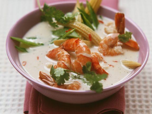 Shrimps mit Gemüse in Vanille-Kokos-Soße