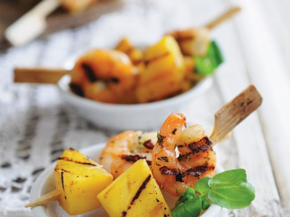 Shrimps-Spießchen mit Ananas