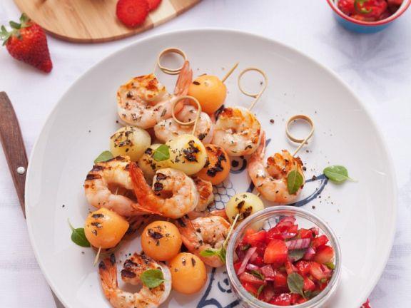 Shrimps-Spieße mit Melone