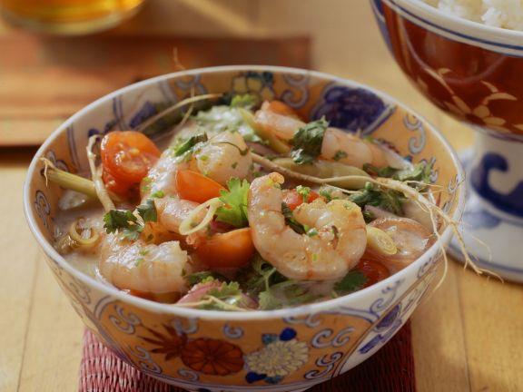 Shrimps und Chili-Kokosmilchsoße