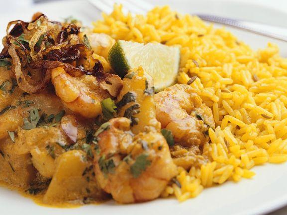 Shrimpscurry mit Reis