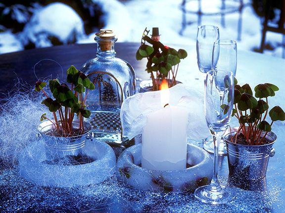 Winterliche Dekoration für Silvester