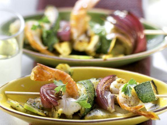 Sommerlicher Garnelen-Gemüse-Spieß