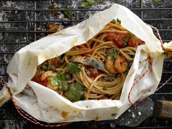 Spaghetti-Garnelen-Päckchen