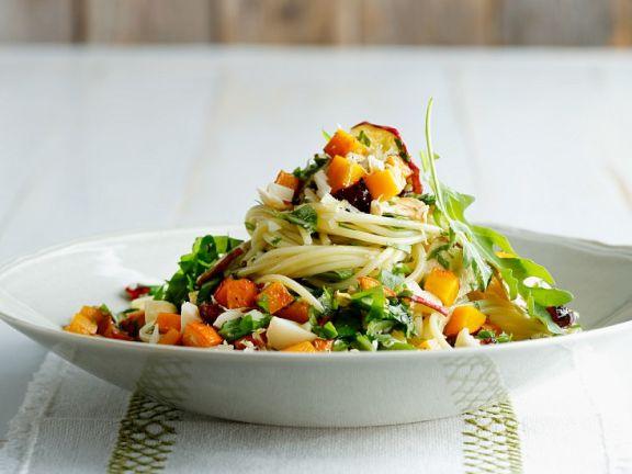 Spaghetti mit Kürbis und Pesto