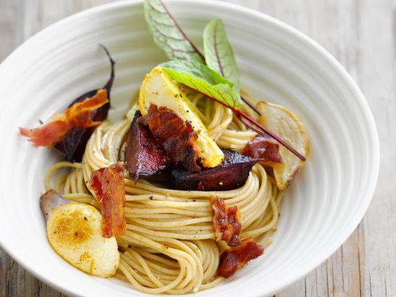 Spaghettini mit Rote Bete und Speck