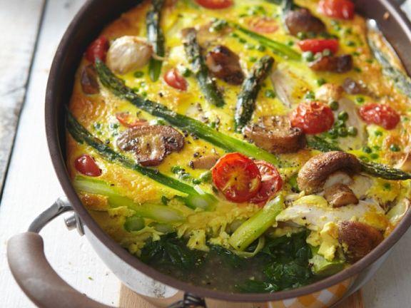 Spargel-Gemüse-Auflauf mit Hähnchen