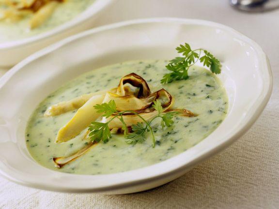Spargel-Petersilien-Suppe mit gebratenem Spargel