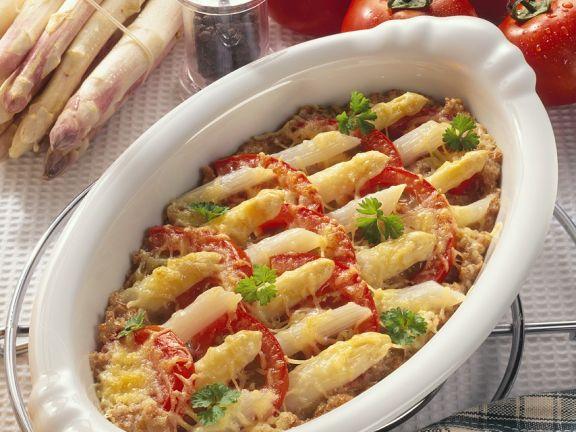 Spargel-Tomatengratin mit Dinkel