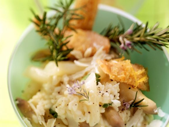 Spargelrisotto mit Lachsforelle