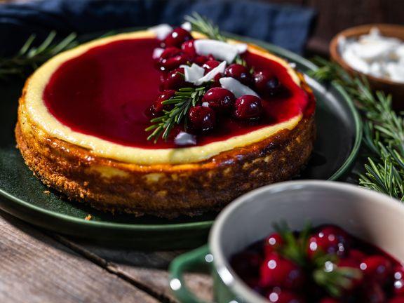 Spekulatius Cheesecake mit Kirschen und Rosmarin