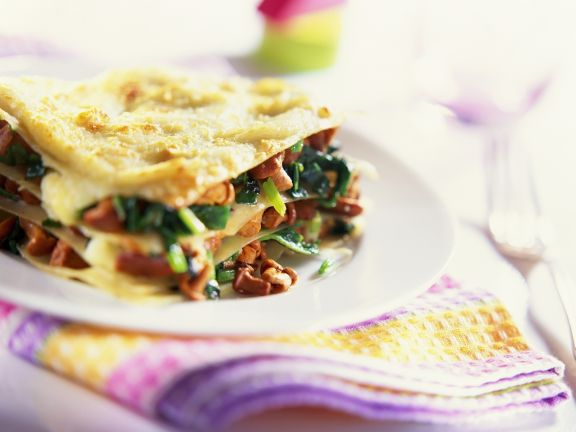Spinat-Pfifferlings-Lasagne