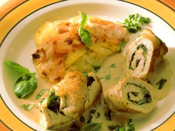 Spinat-Putenrouladen mit Kartoffelgratin