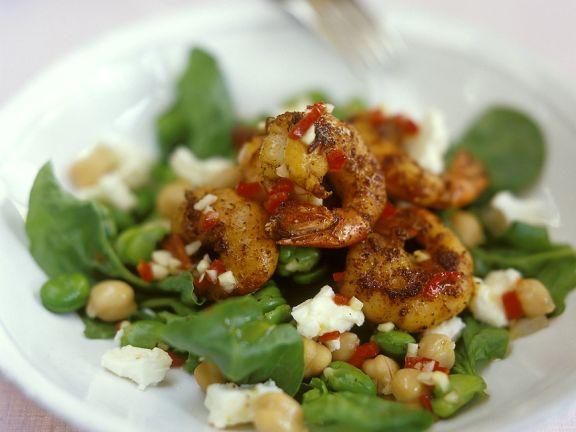 Spinatsalat mit Garnelen