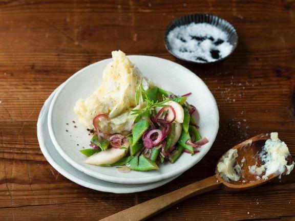 Stampfkartoffeln mit Bohnen und Rüben
