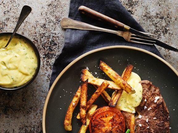 Steak mit Bernaise-Dip und grünen Bohnen