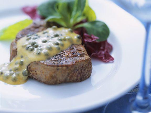 Steak mit grüner Pfeffersauce