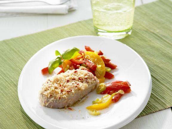 Steak mit Kokosraspeln und Paprikagemüse