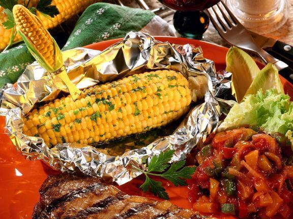 Steak mit Mais vom Grill