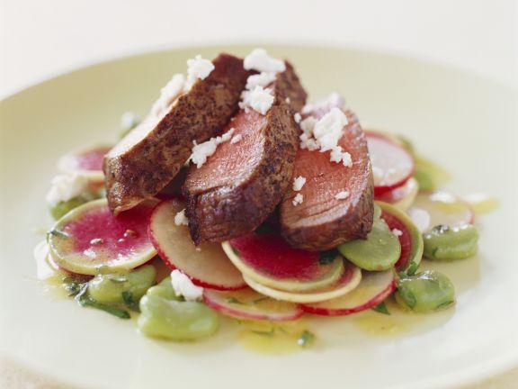Steak mit Rettich-Ziegenkäse-Salat