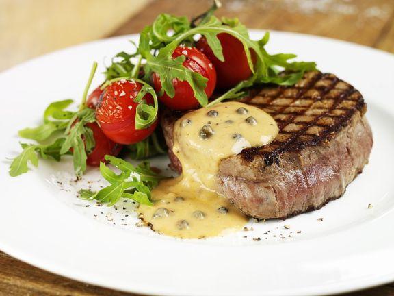 Steaks mit grüner Pfeffersauce