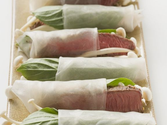 Steakstreifen im Reispapiermantel