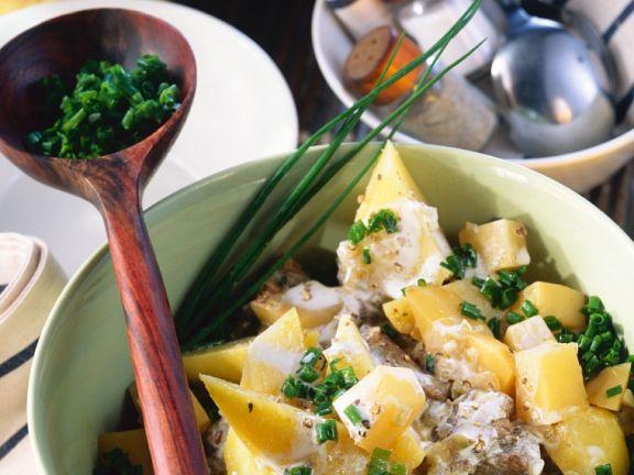 Steckrüben-Kartoffelgemüse mit Lammfleisch