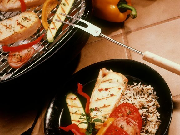 Steinbuttkoteletts vom Grill mit Gemüse