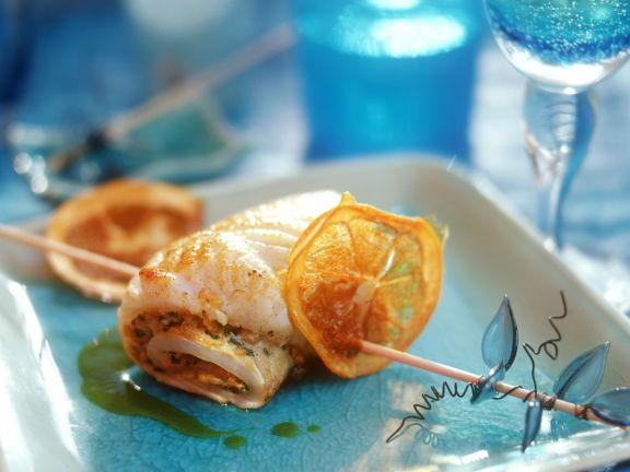Steinbuttroulade mit Curry mit Orange
