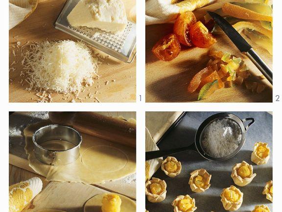 Süße Blüten mit Käsecreme und Marzipan