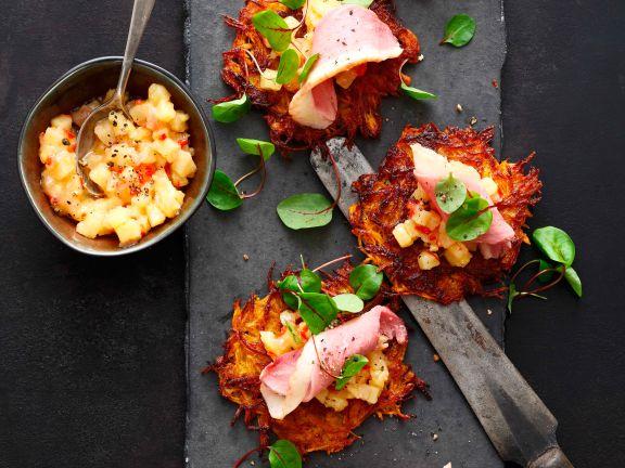 Süßkartoffelpuffer mit Entenbrust