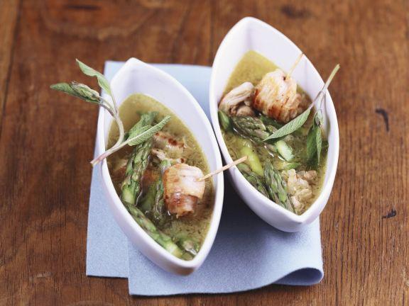 Suppe mit Kalbsfleischrouladen