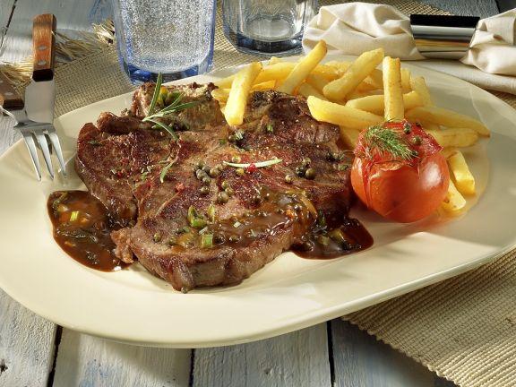T-Bone Steak mit grünem Pfeffer