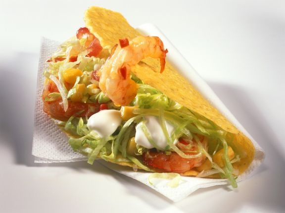 Taco Shells mit Garnelensalat