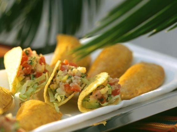 Taco Shells mit Gemüsereisfüllung