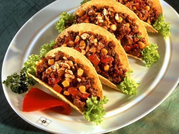 Taco Shells mit Hackfleischfüllung