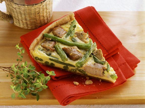 Tarte mit grünen Bohnen und Schweinefilet
