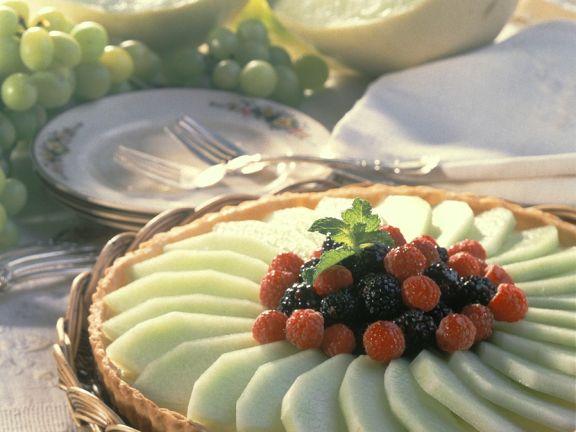 Tarte mit Vanillecreme und Melonen