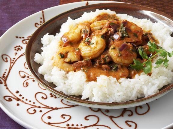 Thai-Curry mit Shrimps und Reis