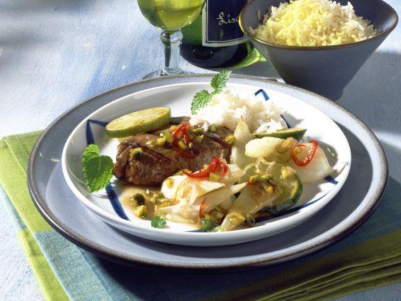 Thunfisch auf Fenchel mit Pistazien-Limettensauce
