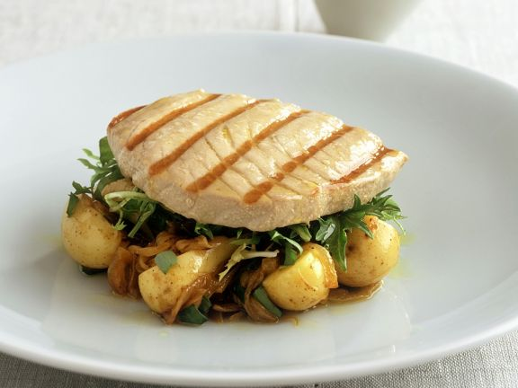 Thunfisch auf Kartoffeln